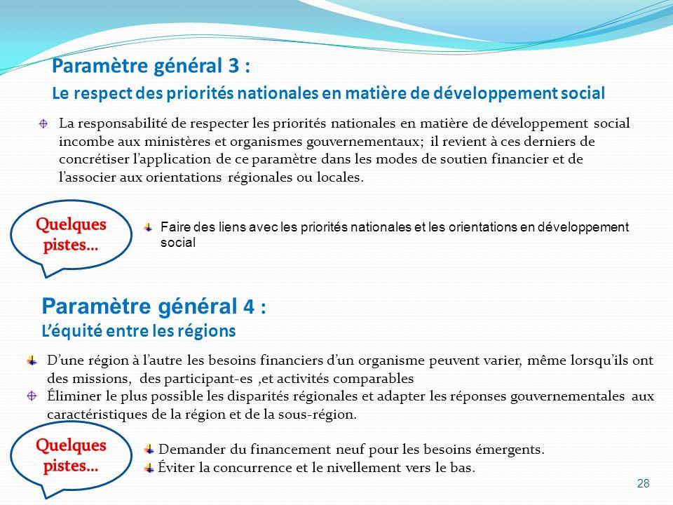 Paramètre général 4 : L'équité entre les régions