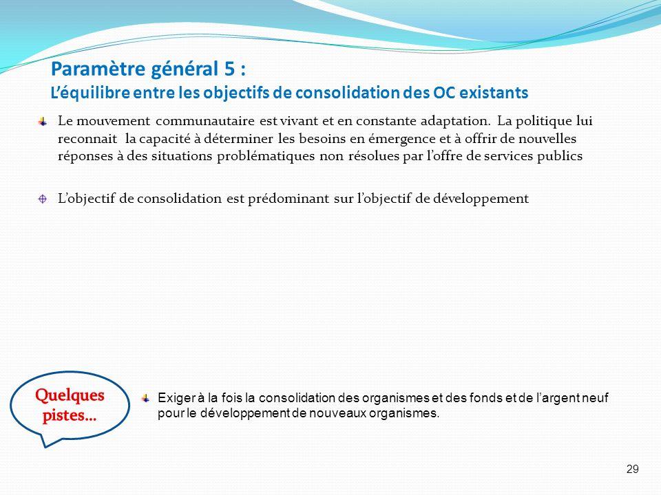 Paramètre général 5 : L'équilibre entre les objectifs de consolidation des OC existants