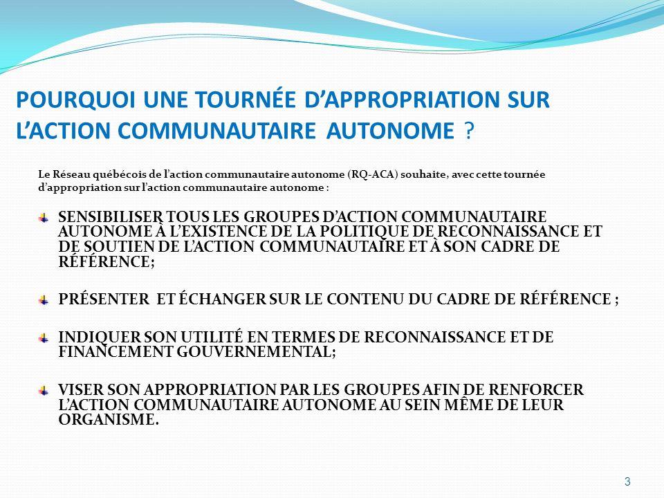 POURQUOI UNE TOURNÉE D'APPROPRIATION SUR L'ACTION COMMUNAUTAIRE AUTONOME