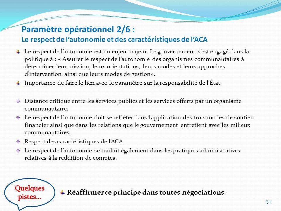 Paramètre opérationnel 2/6 : Le respect de l'autonomie et des caractéristiques de l'ACA