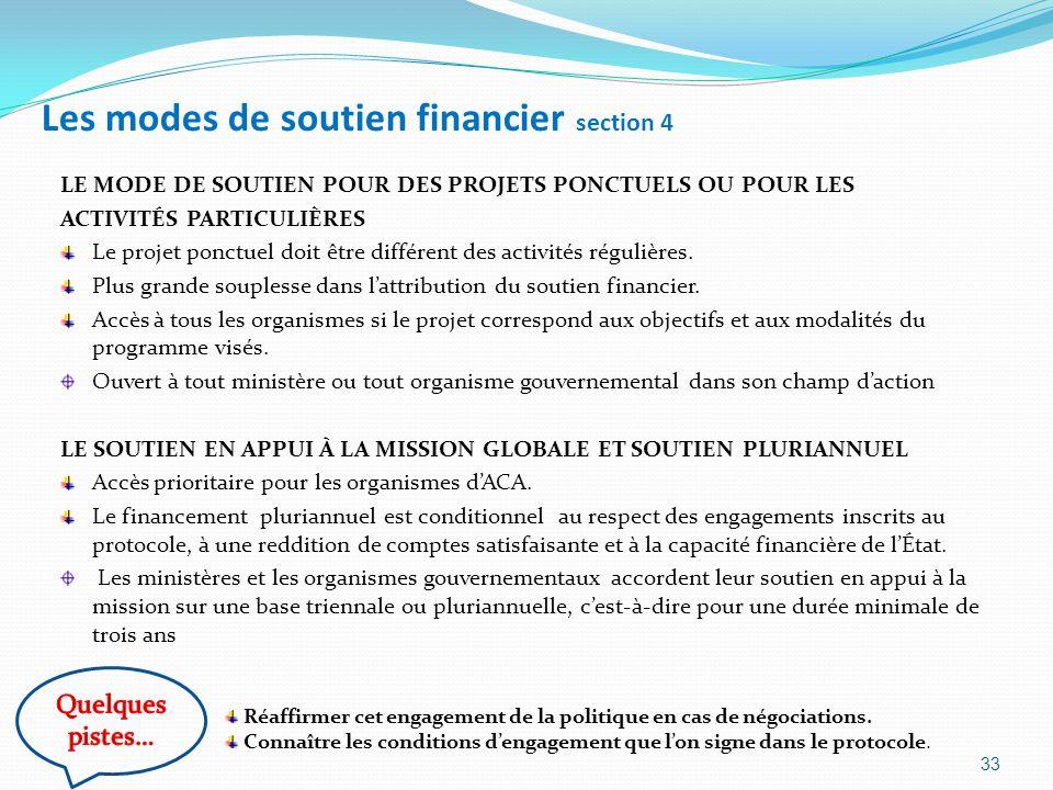 Les modes de soutien financier section 4