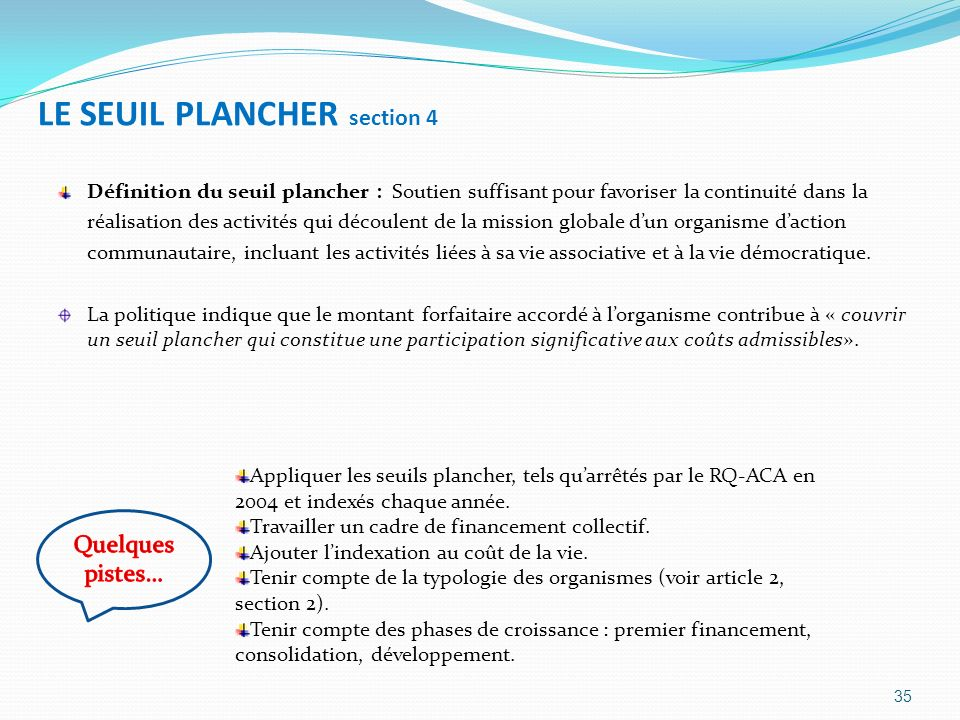 LE SEUIL PLANCHER section 4