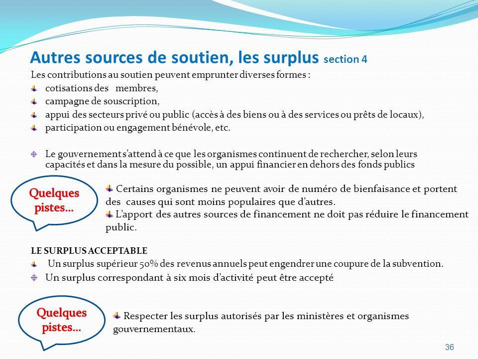 Autres sources de soutien, les surplus section 4