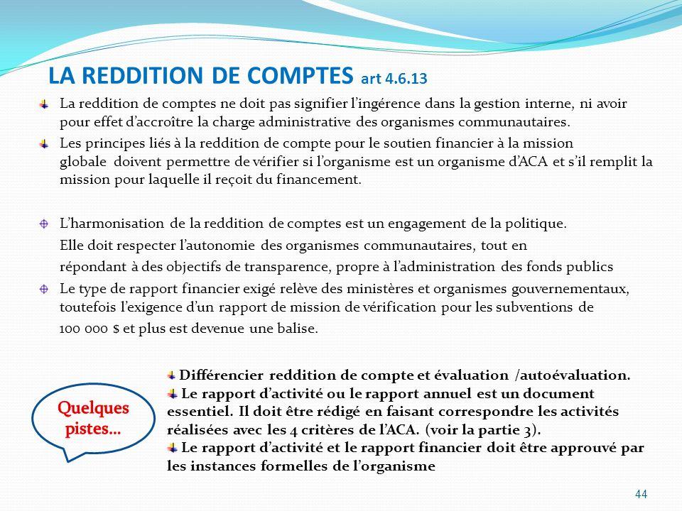 LA REDDITION DE COMPTES art 4.6.13