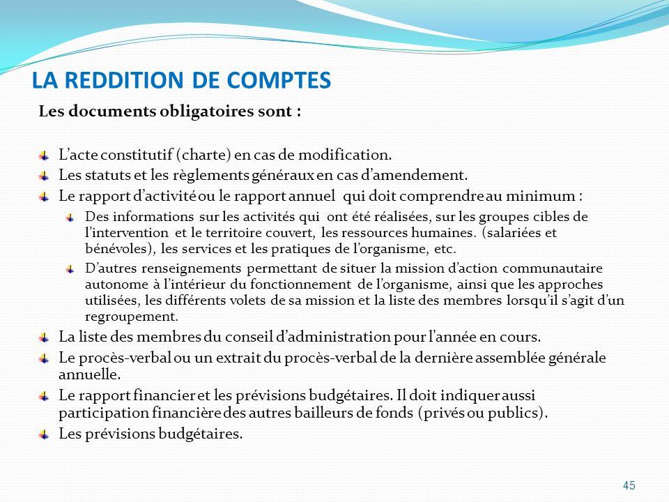LA REDDITION DE COMPTES
