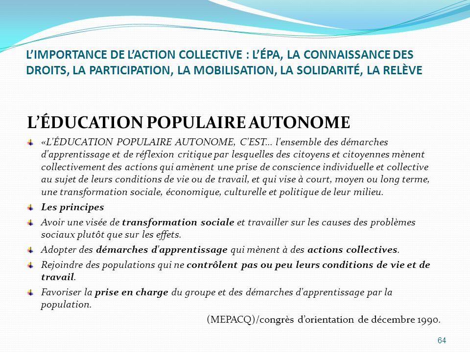 L'ÉDUCATION POPULAIRE AUTONOME