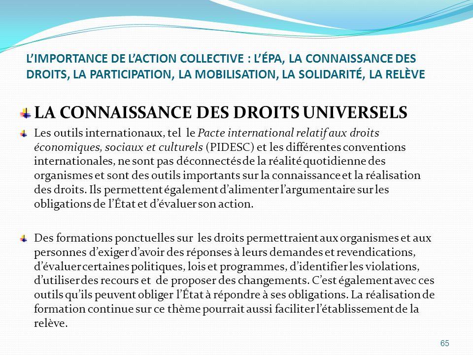 LA CONNAISSANCE DES DROITS UNIVERSELS