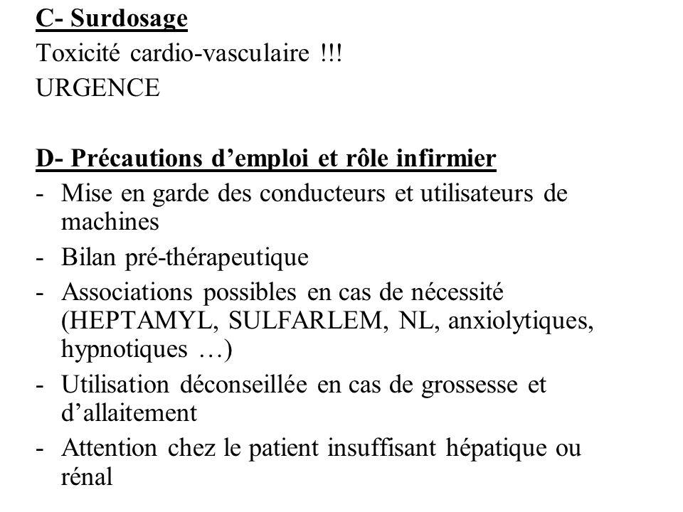 C- Surdosage Toxicité cardio-vasculaire !!! URGENCE. D- Précautions d'emploi et rôle infirmier.