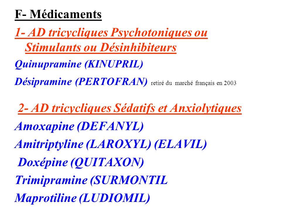 1- AD tricycliques Psychotoniques ou Stimulants ou Désinhibiteurs