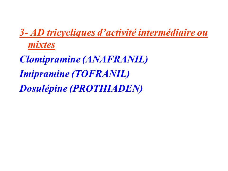 3- AD tricycliques d'activité intermédiaire ou mixtes