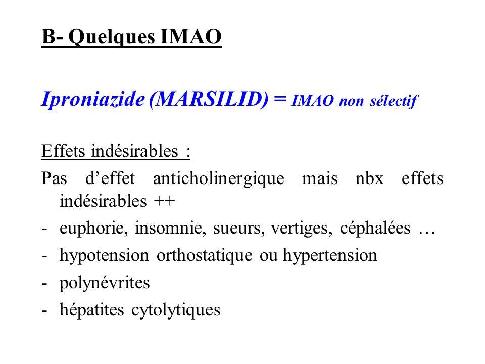 Iproniazide (MARSILID) = IMAO non sélectif
