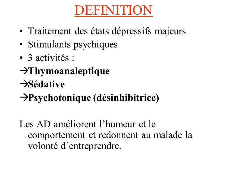 DEFINITION Traitement des états dépressifs majeurs