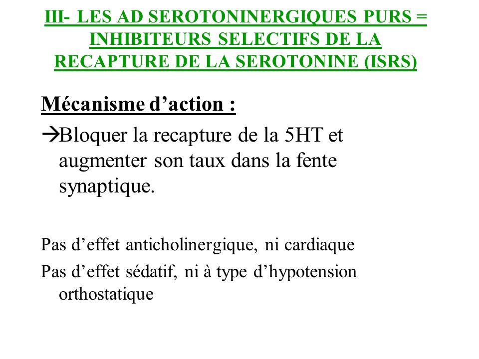 III- LES AD SEROTONINERGIQUES PURS = INHIBITEURS SELECTIFS DE LA RECAPTURE DE LA SEROTONINE (ISRS)