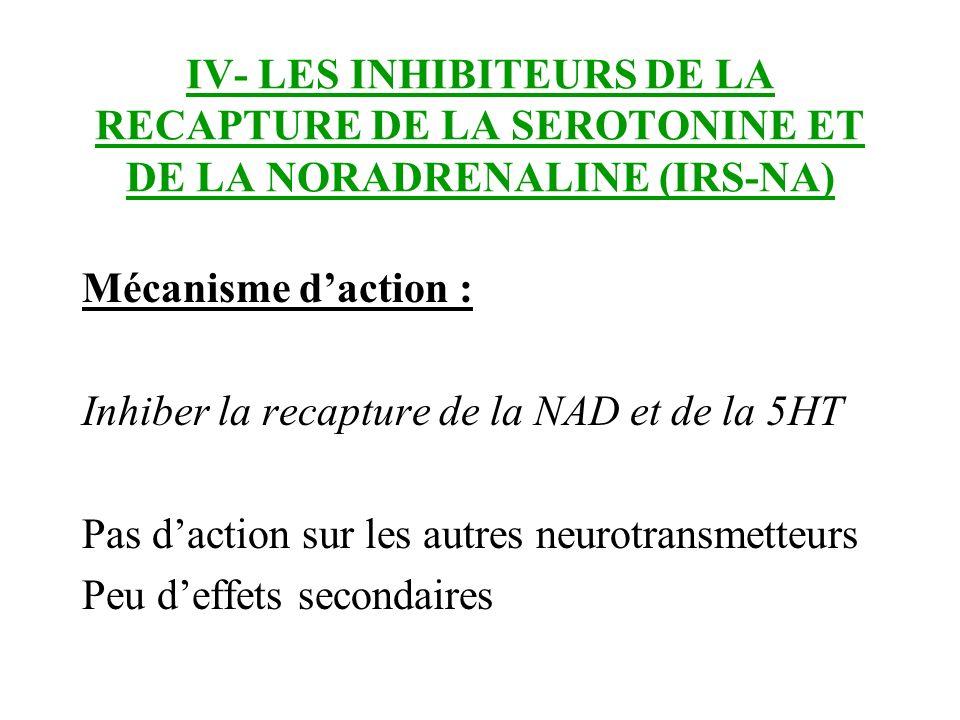 IV- LES INHIBITEURS DE LA RECAPTURE DE LA SEROTONINE ET DE LA NORADRENALINE (IRS-NA)