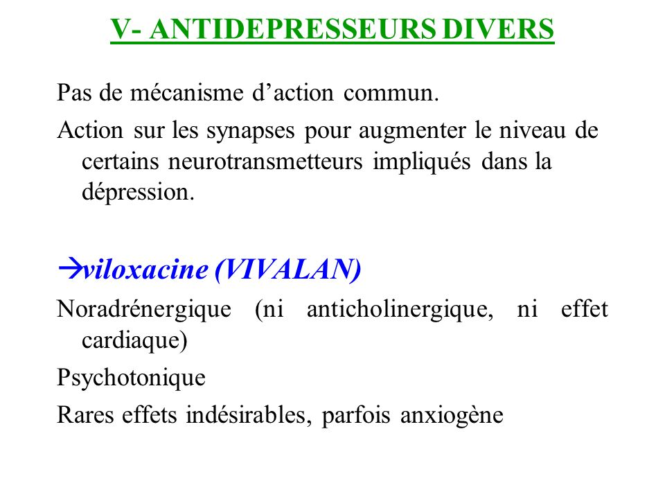 V- ANTIDEPRESSEURS DIVERS