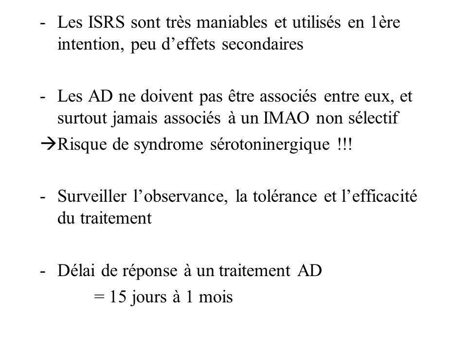 Les ISRS sont très maniables et utilisés en 1ère intention, peu d'effets secondaires