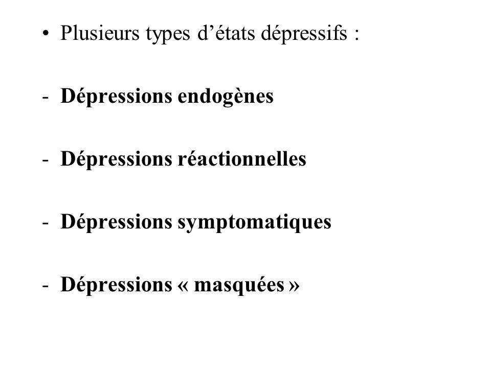 Plusieurs types d'états dépressifs :
