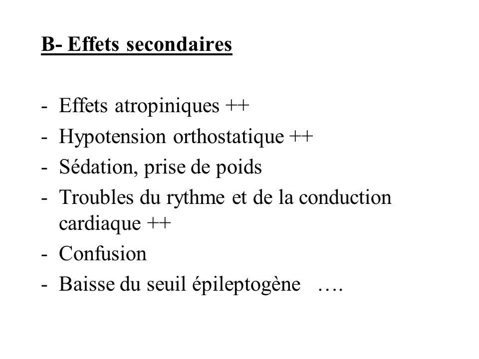 B- Effets secondaires Effets atropiniques ++ Hypotension orthostatique ++ Sédation, prise de poids.