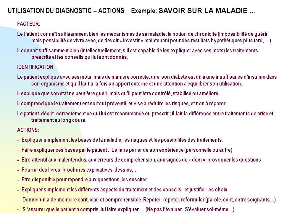 UTILISATION DU DIAGNOSTIC – ACTIONS Exemple: SAVOIR SUR LA MALADIE …