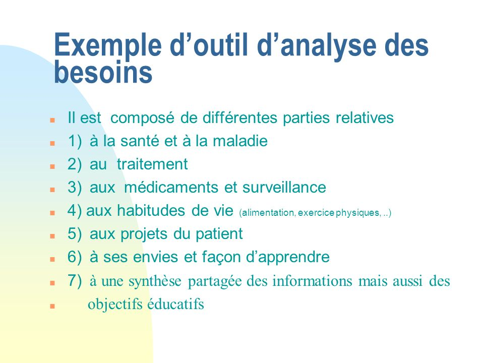 Exemple d'outil d'analyse des besoins