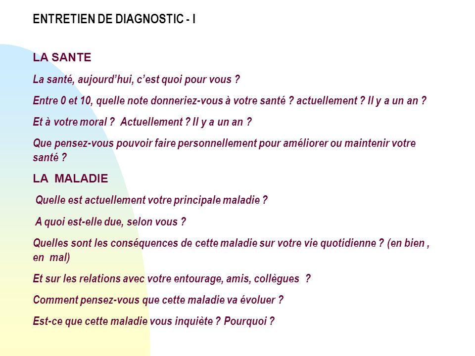 ENTRETIEN DE DIAGNOSTIC - I