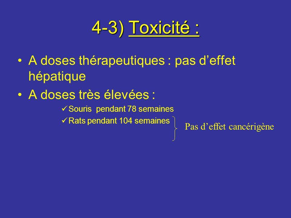 4-3) Toxicité : A doses thérapeutiques : pas d'effet hépatique