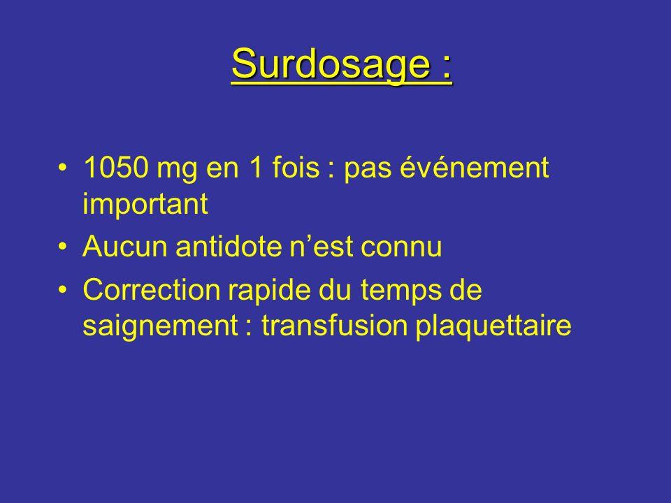 Surdosage : 1050 mg en 1 fois : pas événement important