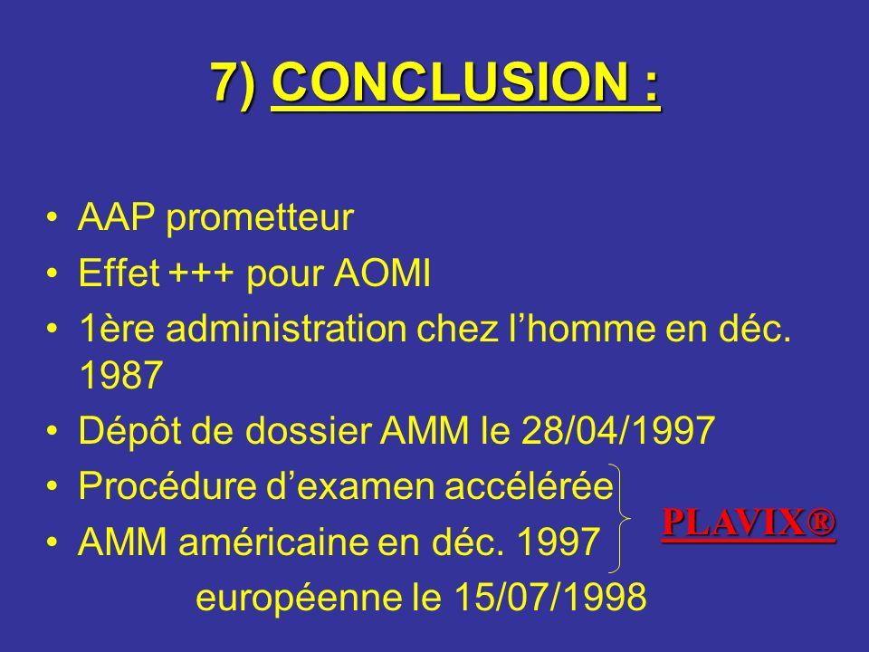 7) CONCLUSION : AAP prometteur Effet +++ pour AOMI