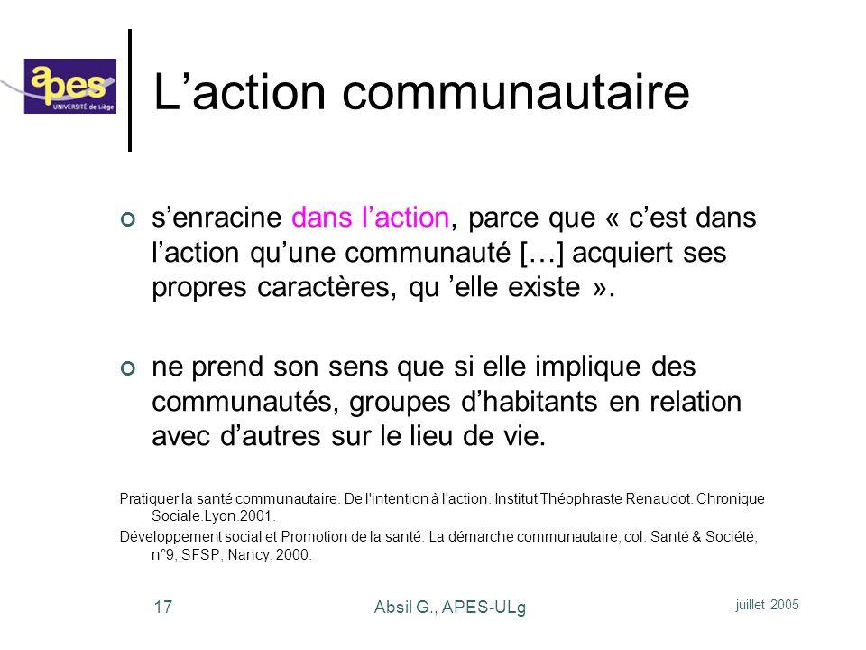 L'action communautaire
