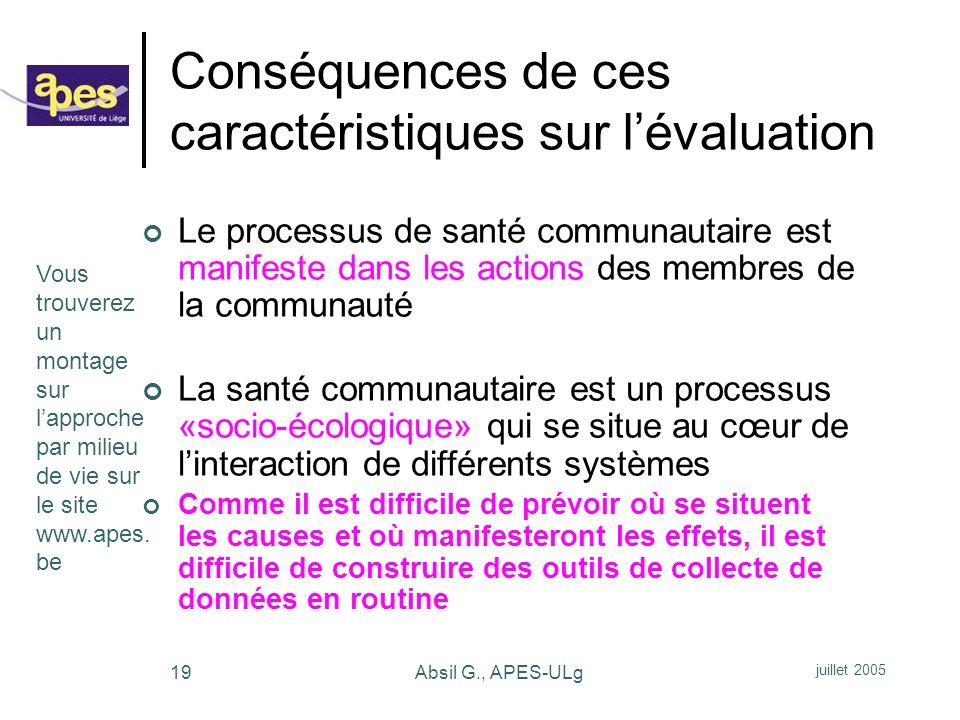 Conséquences de ces caractéristiques sur l'évaluation