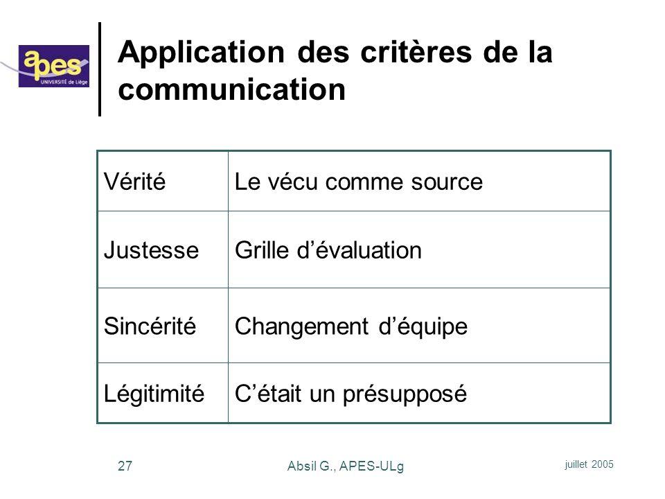 Application des critères de la communication