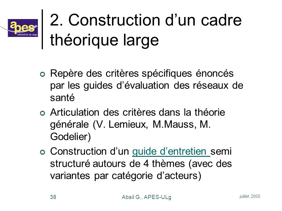 2. Construction d'un cadre théorique large