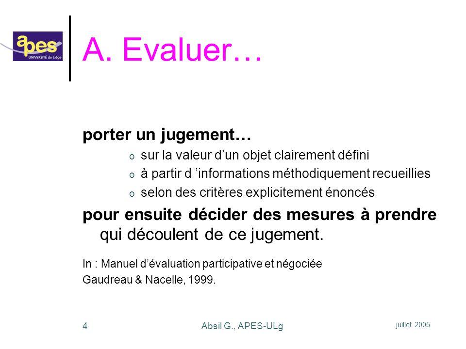 A. Evaluer… porter un jugement…