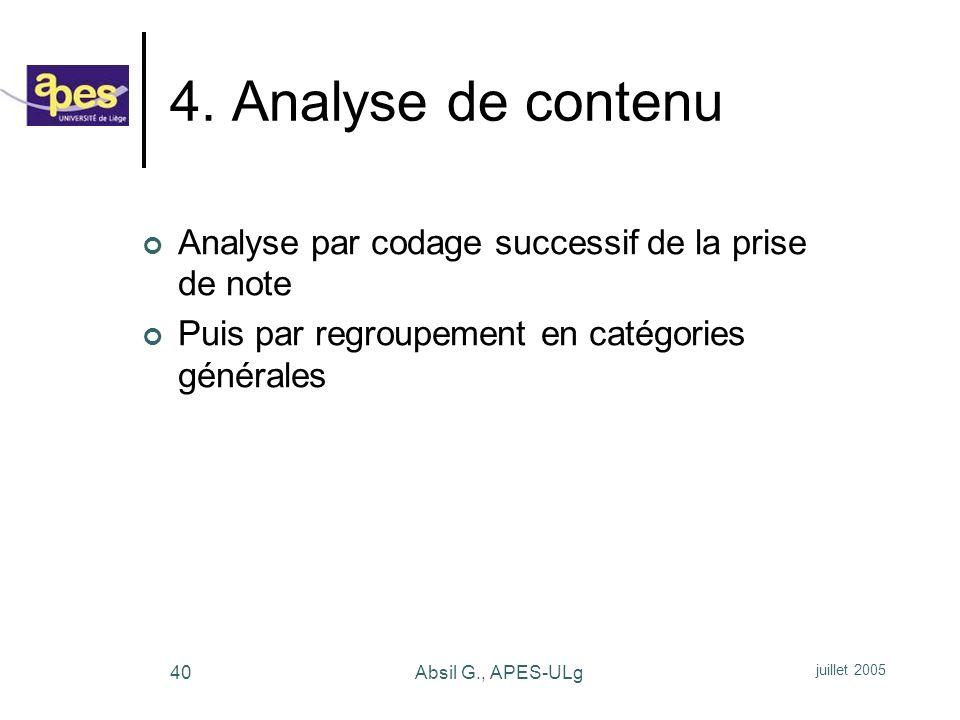 4. Analyse de contenu Analyse par codage successif de la prise de note
