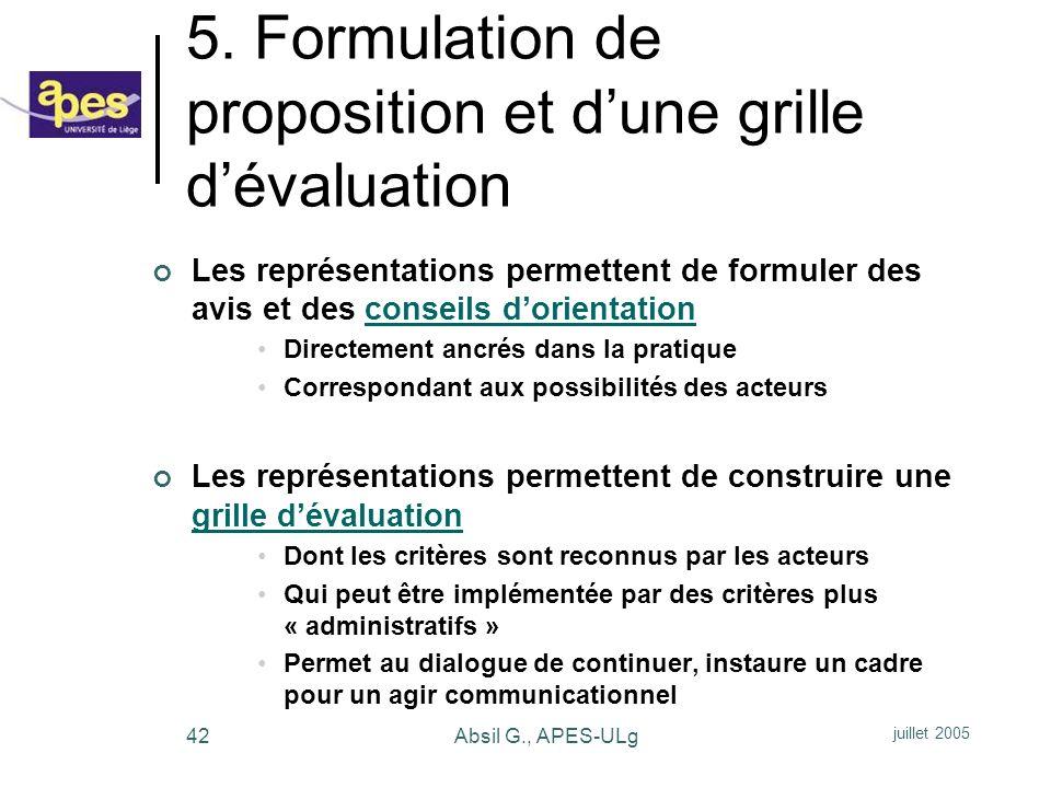 5. Formulation de proposition et d'une grille d'évaluation