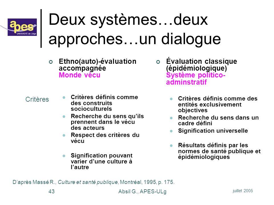 Deux systèmes…deux approches…un dialogue