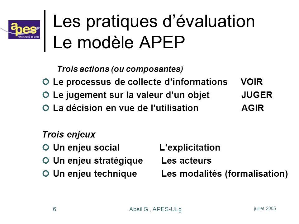 Les pratiques d'évaluation Le modèle APEP