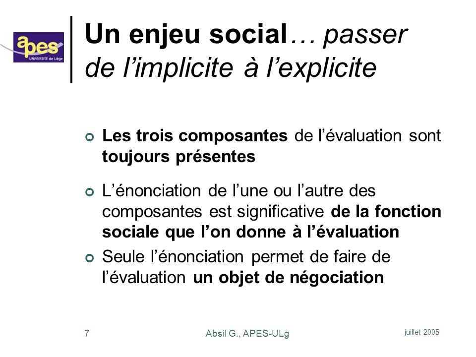 Un enjeu social… passer de l'implicite à l'explicite