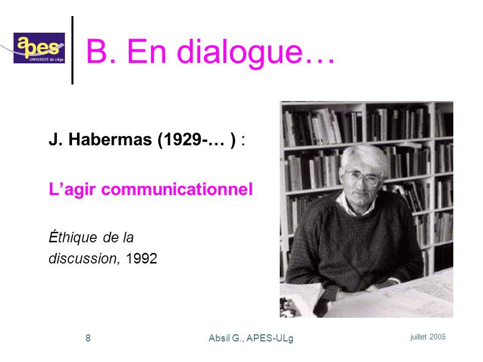 B. En dialogue… J. Habermas (1929-… ) : L'agir communicationnel