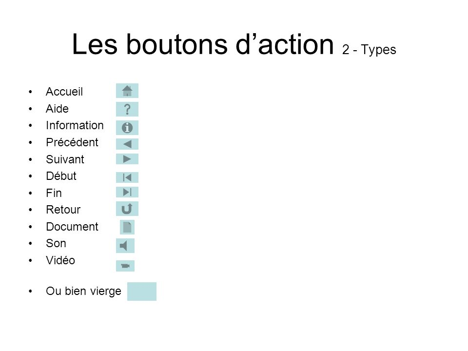 Les boutons d'action 2 - Types