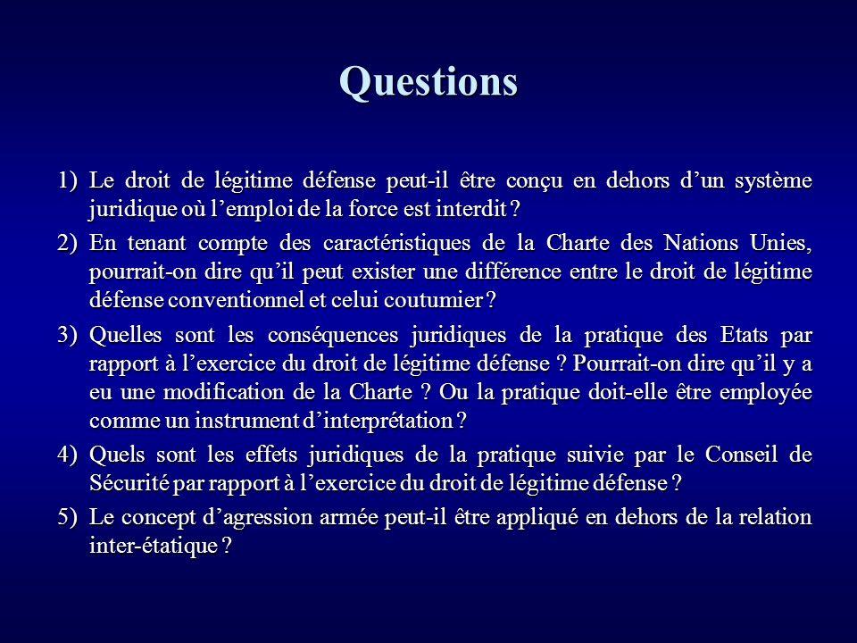 Questions 1) Le droit de légitime défense peut-il être conçu en dehors d'un système juridique où l'emploi de la force est interdit