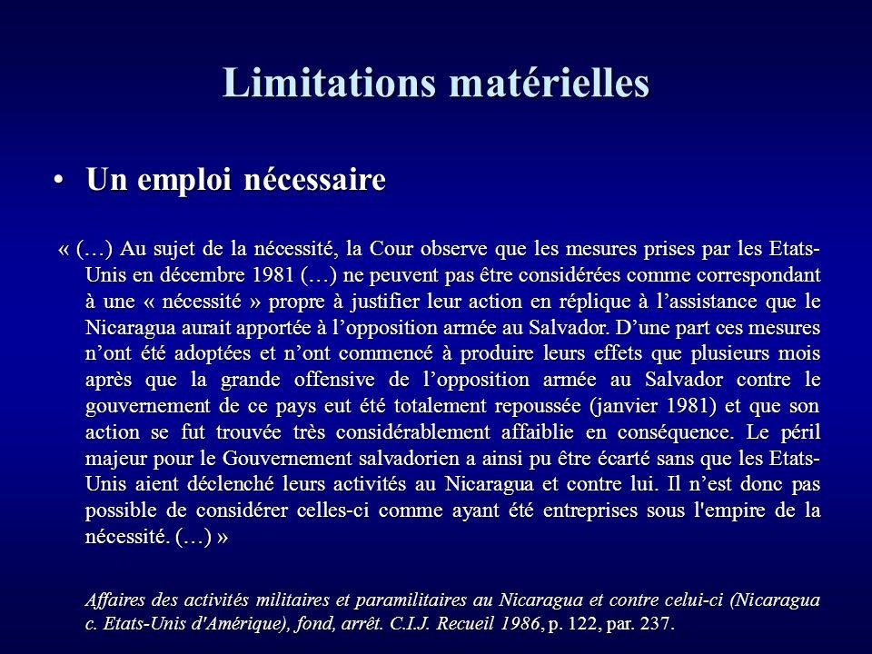 Limitations matérielles