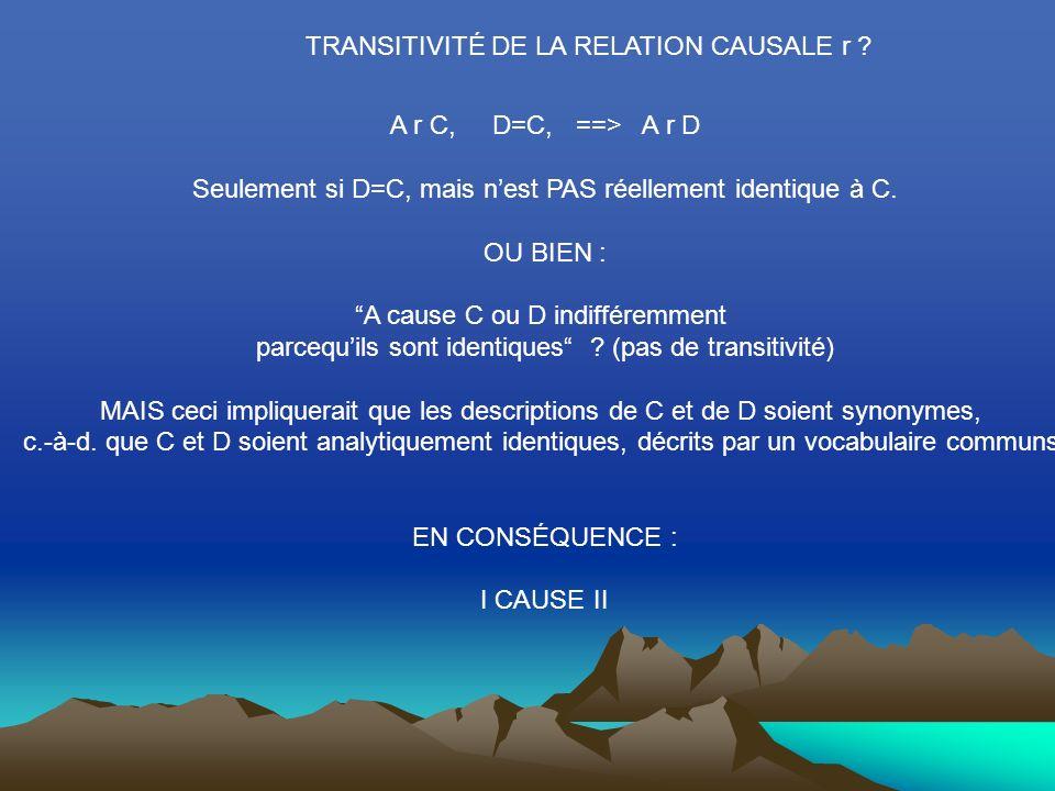 TRANSITIVITÉ DE LA RELATION CAUSALE r