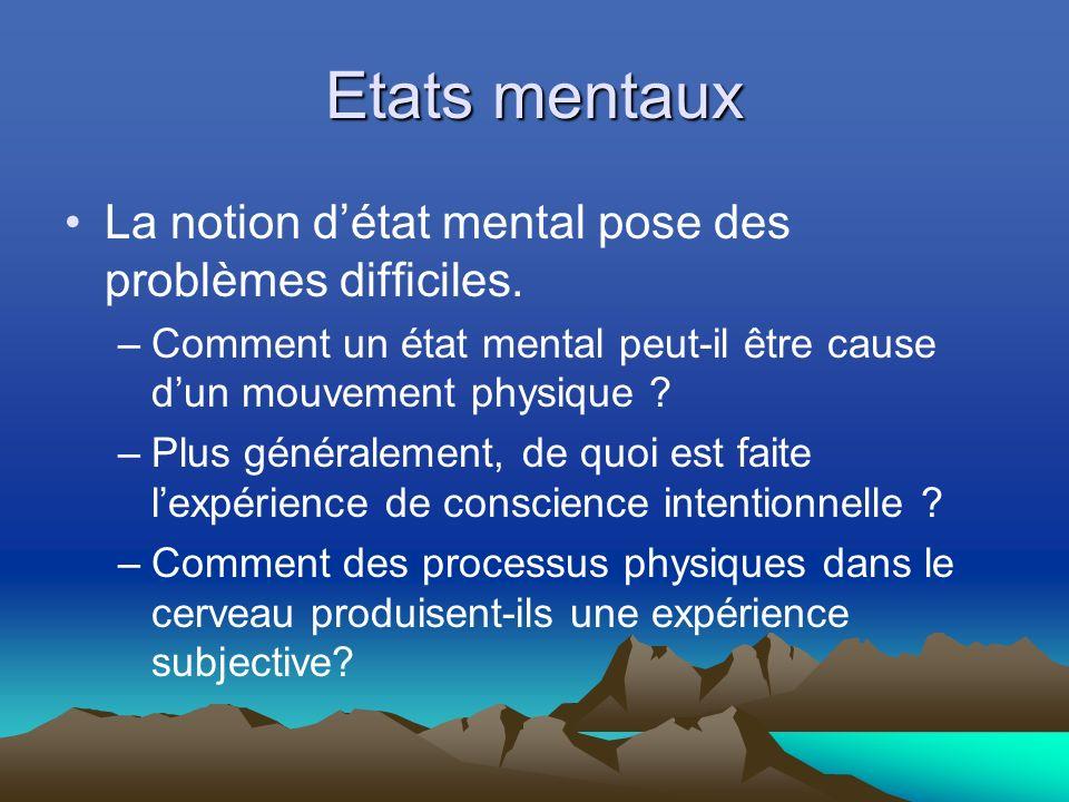 Etats mentaux La notion d'état mental pose des problèmes difficiles.
