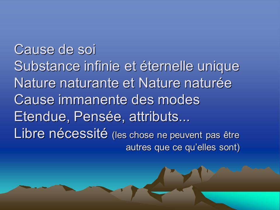 Cause de soi Substance infinie et éternelle unique Nature naturante et Nature naturée Cause immanente des modes Etendue, Pensée, attributs...