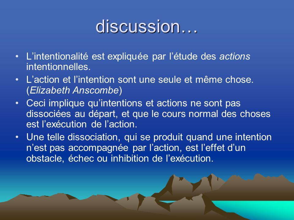 discussion… L'intentionalité est expliquée par l'étude des actions intentionnelles.