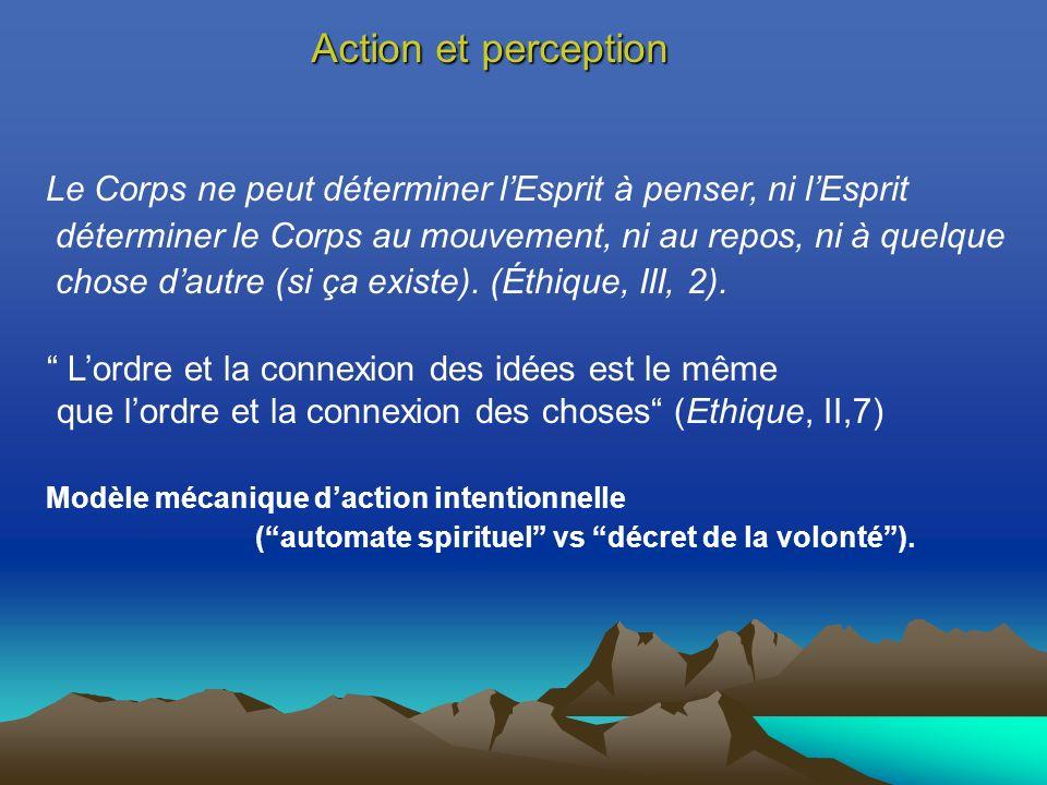 Action et perception Le Corps ne peut déterminer l'Esprit à penser, ni l'Esprit. déterminer le Corps au mouvement, ni au repos, ni à quelque.