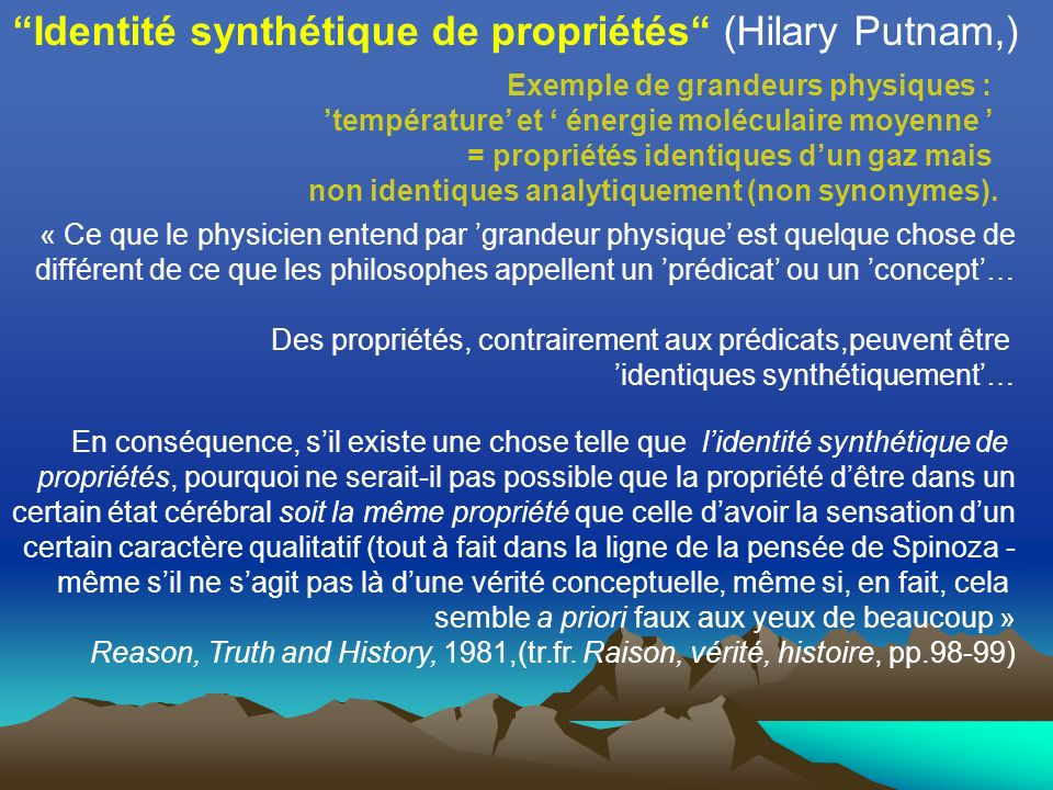 Identité synthétique de propriétés (Hilary Putnam,)