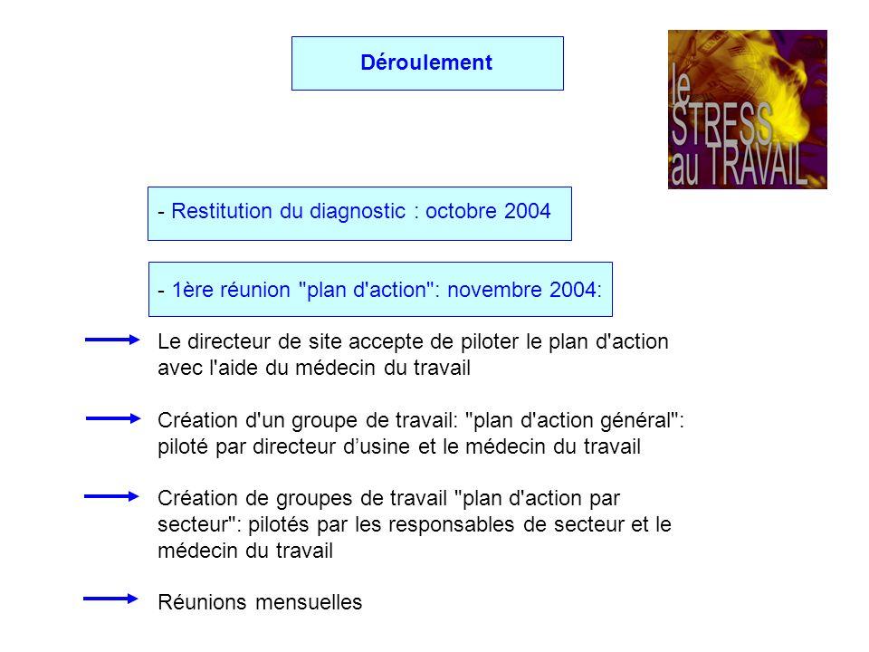 Déroulement - Restitution du diagnostic : octobre 2004. - 1ère réunion plan d action : novembre 2004: