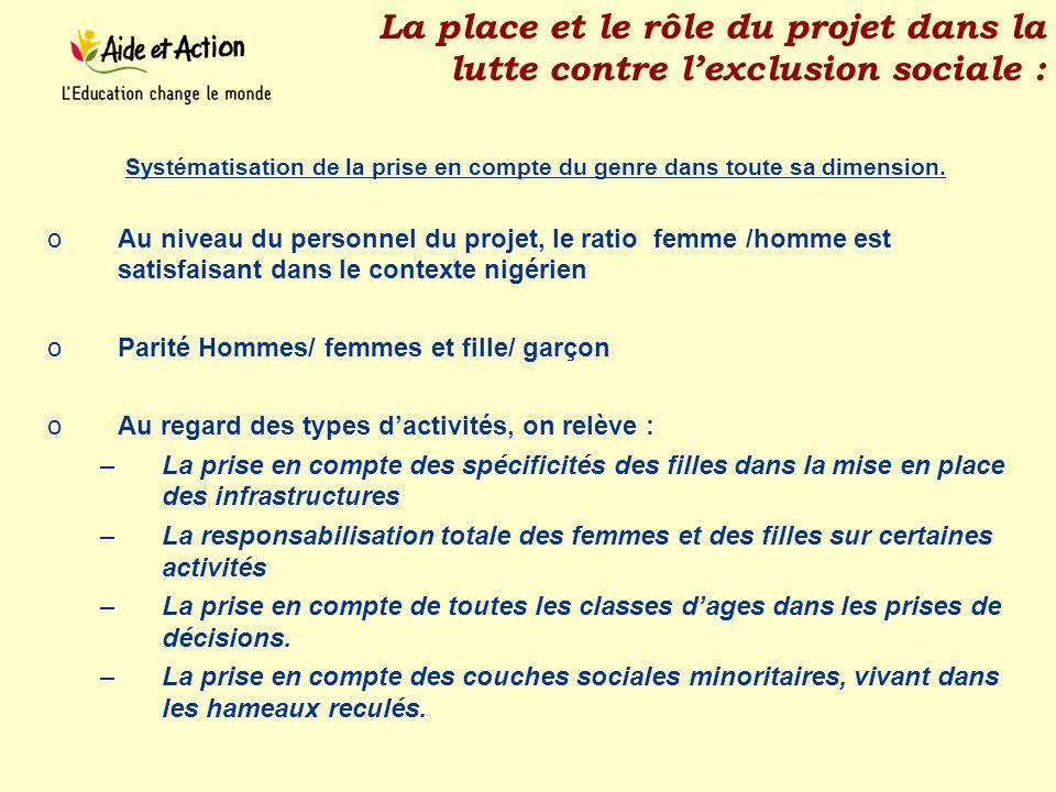 La place et le rôle du projet dans la lutte contre l'exclusion sociale :